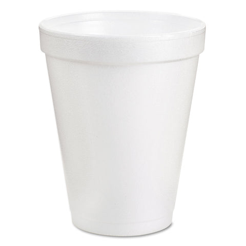 Dart Foam Drink Cups, 8oz, White, 25/Bag, 40 Bags/Carton