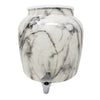 2.5 Gallon Porcelain Crock With Matching Lid, Ring and Faucet- Black and White Classic Marble