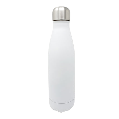 17 oz Double Wall 18/8 Pro-Grade Stainless Vacuum Sealed Slim Water Bottle with Leak-Proof Stainless Cap  | Great For Alkaline Water Storage - White
