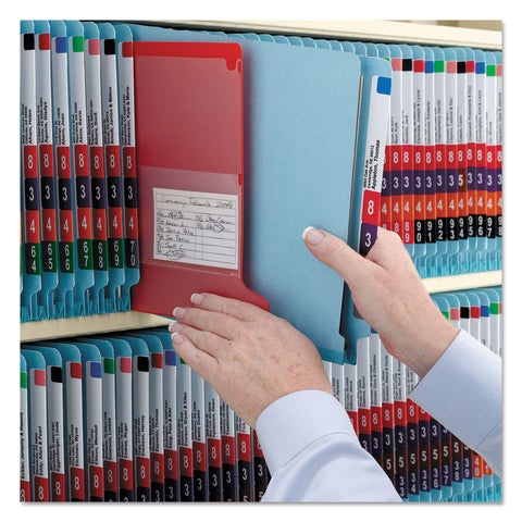 Smead End Tab Colored Pressboard Classification Folders with SafeSHIELD Coated Fasteners, 2 Dividers, Letter Size, Blue, 10/Box - Blue / Letter
