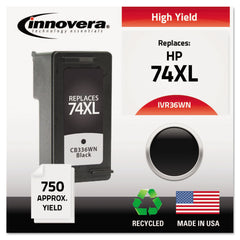 Innovera Remanufactured Black High-Yield Ink, Replacement for HP 74XL (CB336WN), 750 Page-Yield