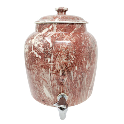 2.5 Gallon Porcelain Crock With Matching Lid, Ring and Faucet- Maroon Blend - 2.5 Gallon / Maroon Blend / Porcelain