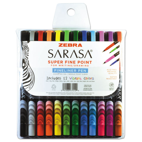 Zebra Sarasa Stick Porous Point Pen, Fine 0.8mm, Assorted Ink/Barrel, 12/Set