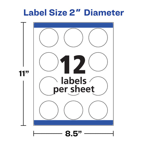 "Avery Print-to-the Edge Labels w/ SureFeed & EasyPeel, 2"" dia., White, 300/Pack"