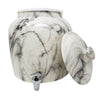 2.5 Gallon Porcelain Crock With Matching Lid - Black and White Classic Marble