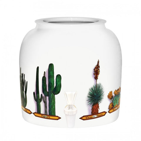2.5 Gallon Porcelain Water Crock Dispenser With Crock Protector Ring and Faucet - Cactus