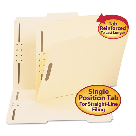 Smead Top Tab 2-Fastener Folders, 2/5-Cut Tabs, Right of Center, Letter Size, 11 pt. Manila, 50/Box - Manila / Letter
