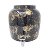 2.5 Gallon Porcelain Crock With Matching Lid, Ring and Faucet- Gold Patter on Black
