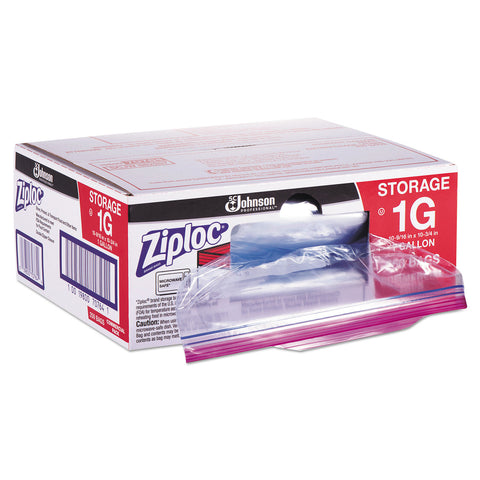 "Ziploc Double Zipper Storage Bags, 1 gal, 1.75 mil, 10.56"" x 10.75"", Clear, 250/Box - Clear"