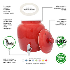 Plastic Spigot Faucet and Lid - Small Marble Red