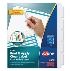 Avery Print and Apply Index Maker Clear Label Dividers, 5 White Tabs, Letter