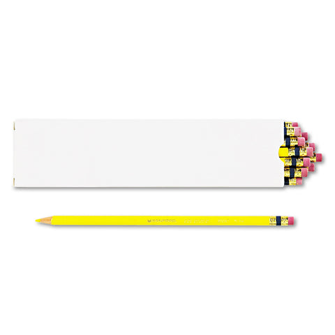 Prismacolor Col-Erase Pencil with Eraser, 0.7 mm, 2B (#1), Yellow Lead, Yellow Barrel, Dozen