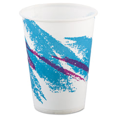 Jazz Waxed Paper Cold Cups, 9oz, Tide Design, 100/Pack, 20 Packs/Carton