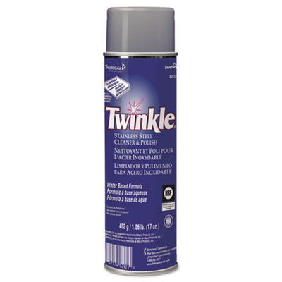 Twinkle Stainless Steel Cleaner & Polish, 17oz Aerosol, 12/Carton