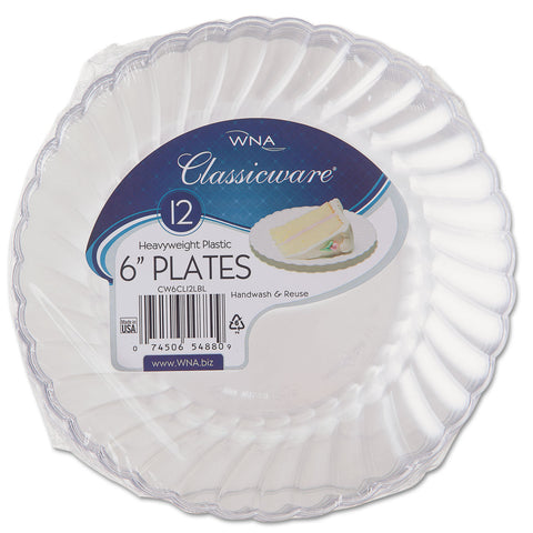 "Classicware Plastic Plates, 6"" Dia., Clear, 12 Plates/Pack, 15 Packs/Carton"