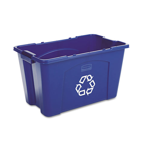 Rubbermaid Commercial Stacking Recycle Bin, Rectangular, Polyethylene, 18 gal, Blue - Blue