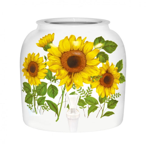 2.5 Gallon Porcelain Water Crock Dispenser With Crock Protector Ring and Faucet - Sunflower