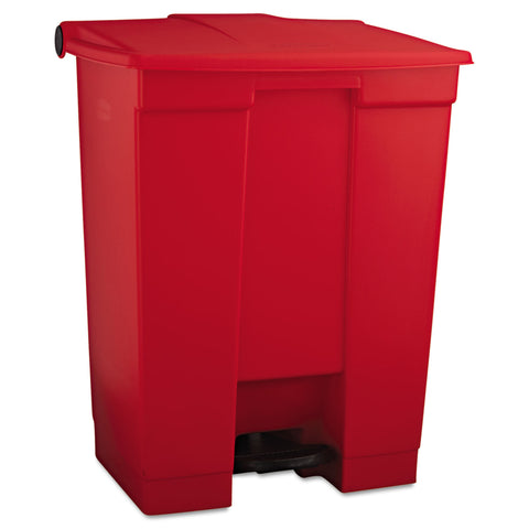 Rubbermaid Commercial Indoor Utility Step-On Waste Container, Rectangular, Plastic, 18 gal, Red