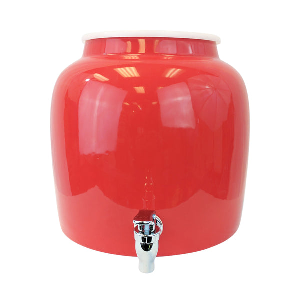 2.5 Gallon Porcelain Water Crock Dispenser With Crock Protector Ring and Faucet - Red