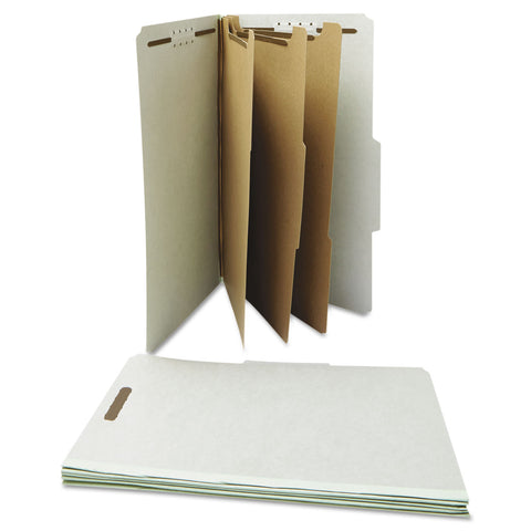 Universal Four-, Six- and Eight-Section Classification Folders, 3 Dividers, Legal Size, Gray, 10/Box - Gray / Legal