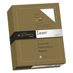 Southworth 25% Cotton Laser Paper, 95 Bright, 24 lb, 8.5 x 11, White, 500/Ream