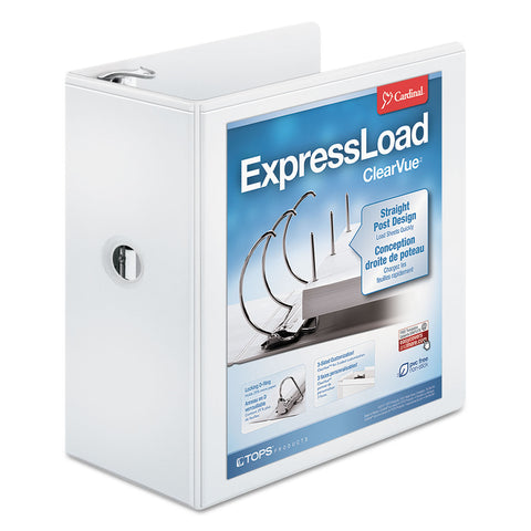 "Cardinal ExpressLoad ClearVue Locking D-Ring Binder, 3 Rings, 5"" Capacity, 11 x 8.5, White - White / 5"""