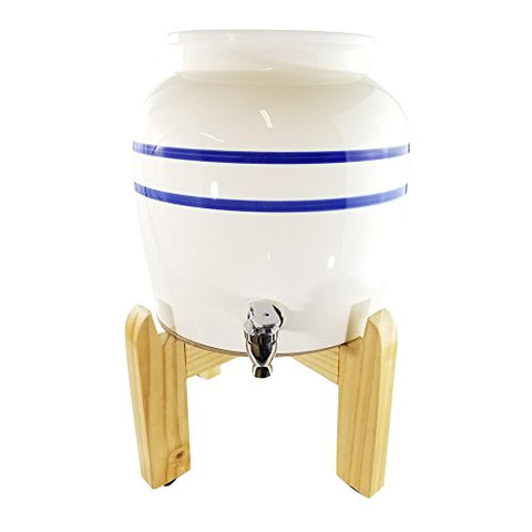 "Premium Blue Stripe Porcelain Water Crock Dispenser & Wood Counter Stand Set - Blue Stripe / 8"" Natural Stand"