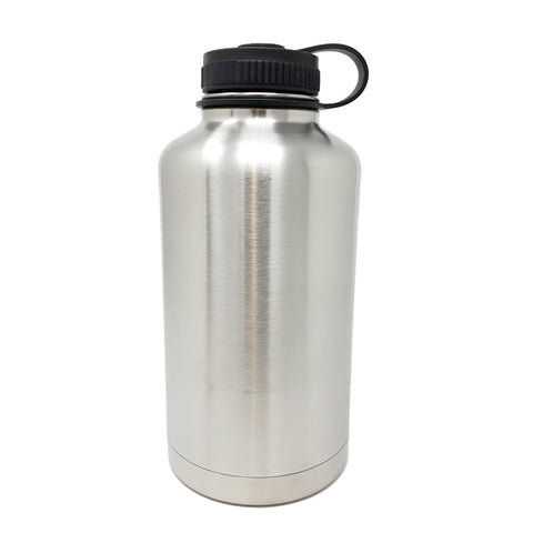 64 oz Double Wall 18/8 Pro-Grade Stainless Vacuum Sealed Big Mouth Water Bottle with Leak-Proof Black Stay-On Cap  | Great For Alkaline Water Storage - Stainless Steel