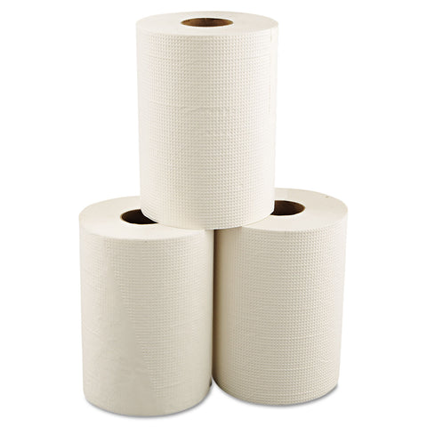 "Morcon Paper Hardwound Roll Towels, 8"" x 350 ft, White, 12 Rolls/Carton - White"