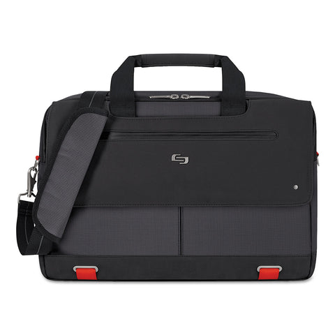"Solo Mission Briefcase, 20"" x 6"" x 13"", Polyester, Black - Black / 15.6"""