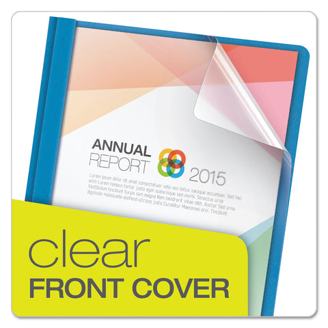 "Oxford Clear Front Report Cover, 3 Fasteners, Letter, 1/2"" Capacity, Blue, 25/Box - Clear / 8 1/2 x 11"