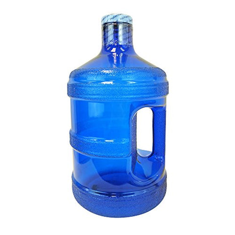 1 Gallon BPA FREE Reusable Plastic Drinking Water Big Mouth Bottle Jug Container with Holder Drinking Canteen - Dark Blue