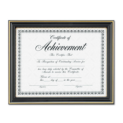 DAX Gold-Trimmed Document Frame w/Certificate, Plastic/Glass, 8 1/2 x 11, Black