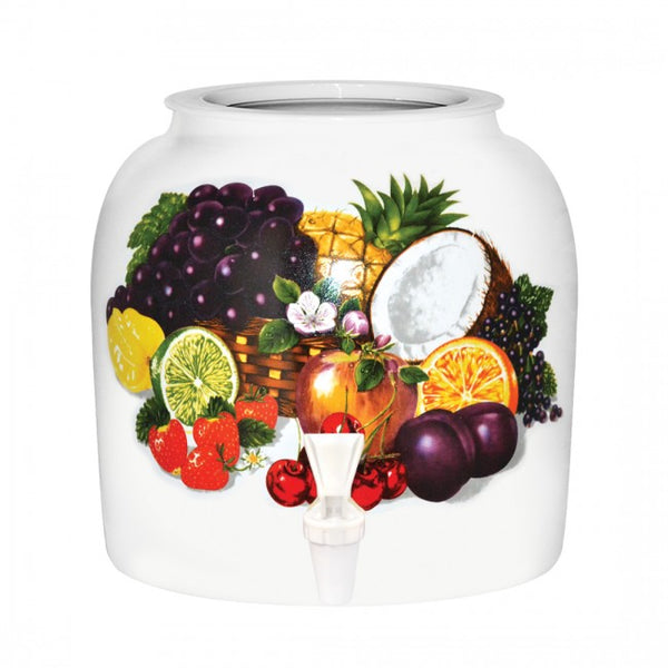 2.5 Gallon Porcelain Water Crock Dispenser With Crock Protector Ring and Faucet - Tropical Fruits