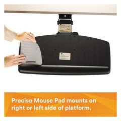 "3M Easy Adjust Keyboard Tray, Standard Platform, 23"" Track, Black"