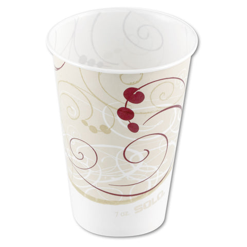 Dart Waxed Paper Cold Cups, 7 oz, Symphony Design - Beige/White/Red