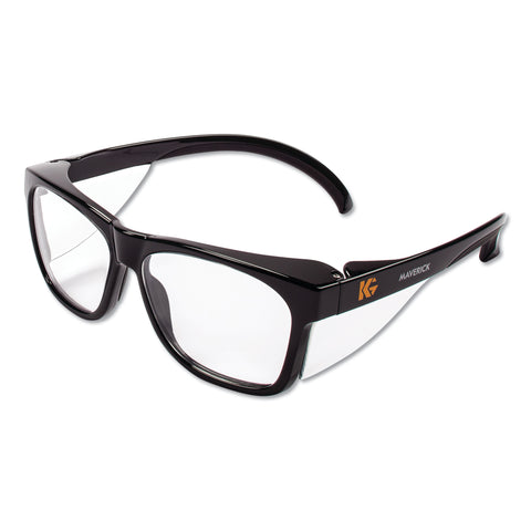 KleenGuard Maverick Safety Glasses, Black, Polycarbonate Frame, Clear Lens