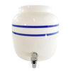 2.5 Gallon Porcelain Water Crock Dispenser With Crock Protector Ring and Faucet - Blue Stripe