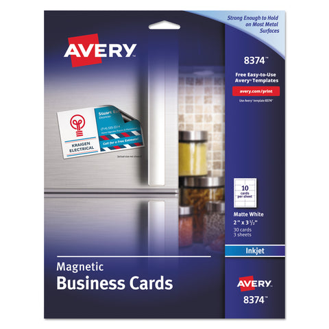 Avery Magnetic Business Cards, 2 x 3 1/2, White, 10/Sheet, 30/Pack