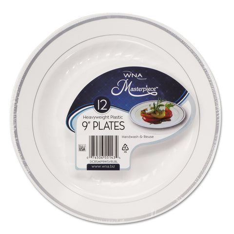 "Masterpiece Plastic Dinnerware, White/Silver, 9"", 10/Pack"