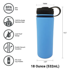 18 oz Double Wall 18/8 Pro-Grade Stainless Vacuum Sealed Big Mouth Water Bottle with Leak-Proof Black Stay-On Cap  | Great For Alkaline Water Storage - Light Blue