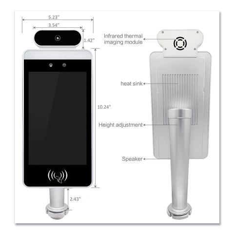 "OneScreen GoSafe Octa-Core Processor Body Temperature and Facial Recognition Scanner, 8"" LCD, 800 x 1280 Pixels, 8/Carton"