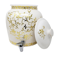 2.5 Gallon Porcelain Crock With Matching Lid, Ring and Faucet- Antique Gold Floral