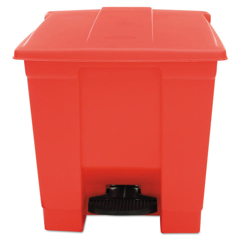 Rubbermaid Commercial Indoor Utility Step-On Waste Container, Square, Plastic, 8 gal, Red - Red