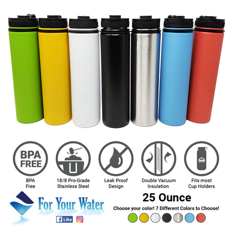 25 oz Double Wall 18/8 Pro-Grade Stainless Vacuum Sealed Big Mouth Water Bottle with Leak-Proof Black Stay-On Cap  | Great For Alkaline Water Storage - Green