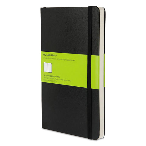 Moleskine Hard Cover Notebook, Unruled, Black Cover, 8.25 x 5, 192 Sheets