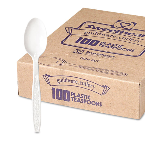 Dart Guildware Heavyweight Plastic Teaspoons, White, 100/Box, 10 Boxes/Carton