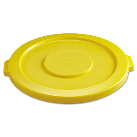 "Rubbermaid Commercial Round Flat Top Lid, for 32 gal Round BRUTE Containers, 22.25"" diameter, Yellow"