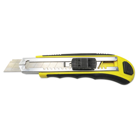 Boardwalk Rubber-Gripped Retractable Snap Blade Knife, Straight-Edged, Black/Yellow