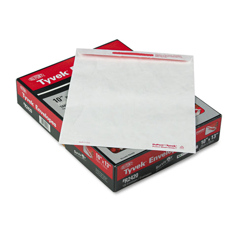 Quality Park Tamper-Indicating Mailers Made with Tyvek, #13 1/2, Flip-Stik Flap, Flap-Stik Closure, 10 x 13, White, 100/Box - White / #13 1/2